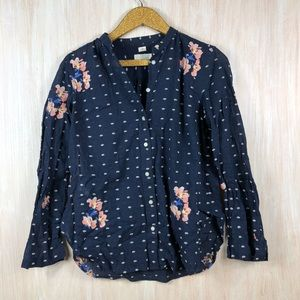 LOFT Navy Blue Floral Embroider Button Down Shirt
